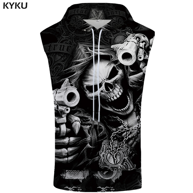 KYKU Brand Skull Sleeveless Hoodie Hip Hop Coat Punk Shirt Rock Bodybuilding Gun Sweatshirt Vest Mens Clothing Men 3d Print