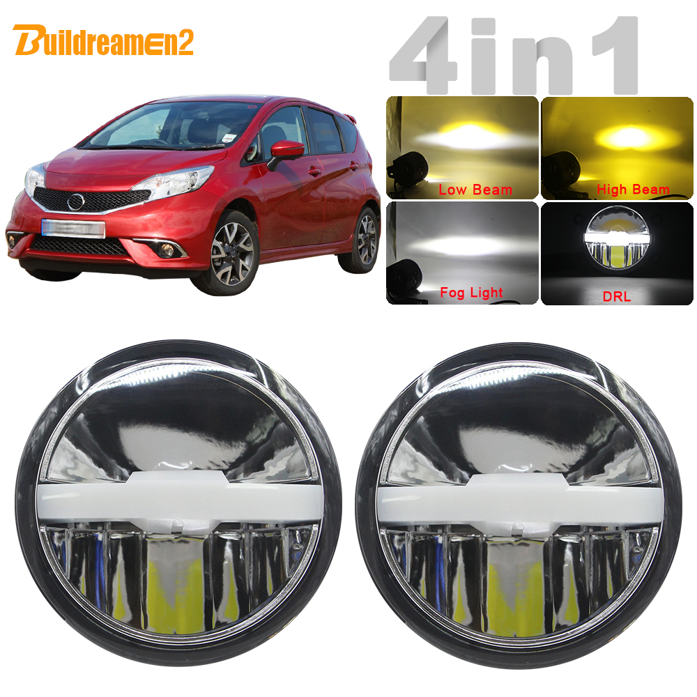4in1 Function Car LED Bulb Fog Light Headlight High Low Beam DRL Intelligent Switch 5000LM 12V For Nissan Note E11 MPV 2006 2015