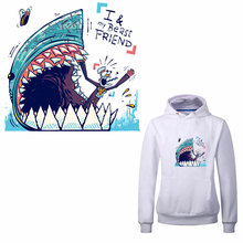 ZOTOONE Cartoon Shark Letter T-shirt Printing Paste Heat Transfer and Ironing Class Powdered DIY Clothing Patch D