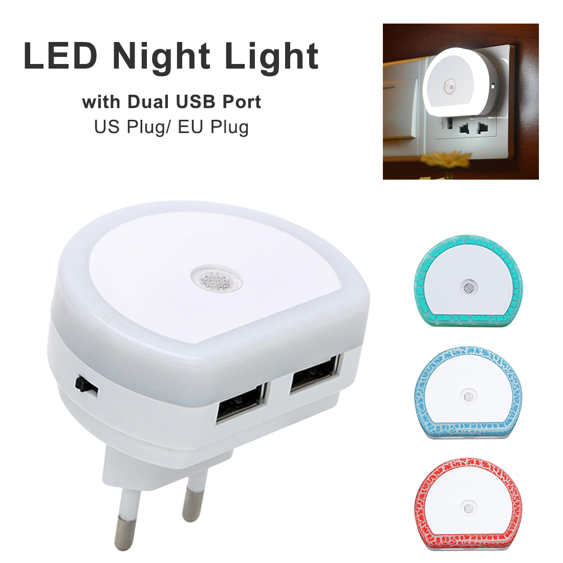 LED Night Light Dusk To Dawn Sensor Lamp With Dual USB Charging Port Baby Nursely Sensor Wall Lamp For Kids Adults Bedroom