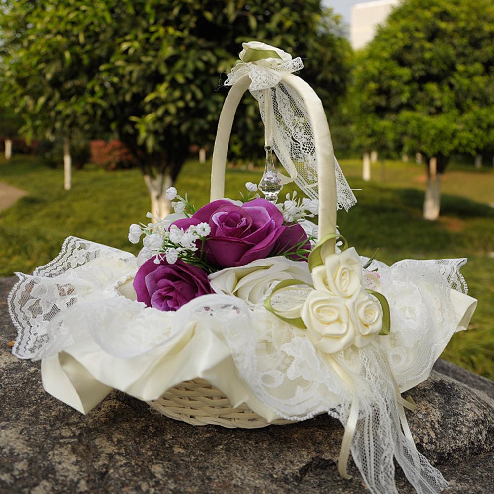 חתונה חתונת סל פרח סל מפוח טקס חגיגי מפלגת האהבה Case סאטן הילדה פרח סל לאספקת מסיבת חתונה
