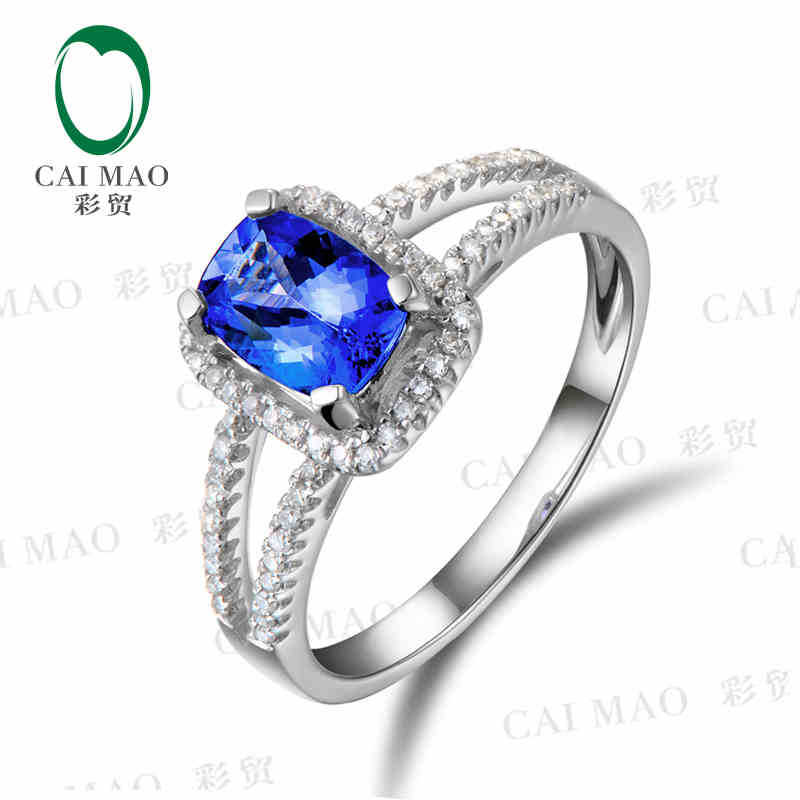 цена CaiMao 18KT/750 White Gold 1.02 ct Natural IF Blue Tanzanite AAA 0.24 ct Full Cut Diamond Engagement Gemstone Ring Jewelry