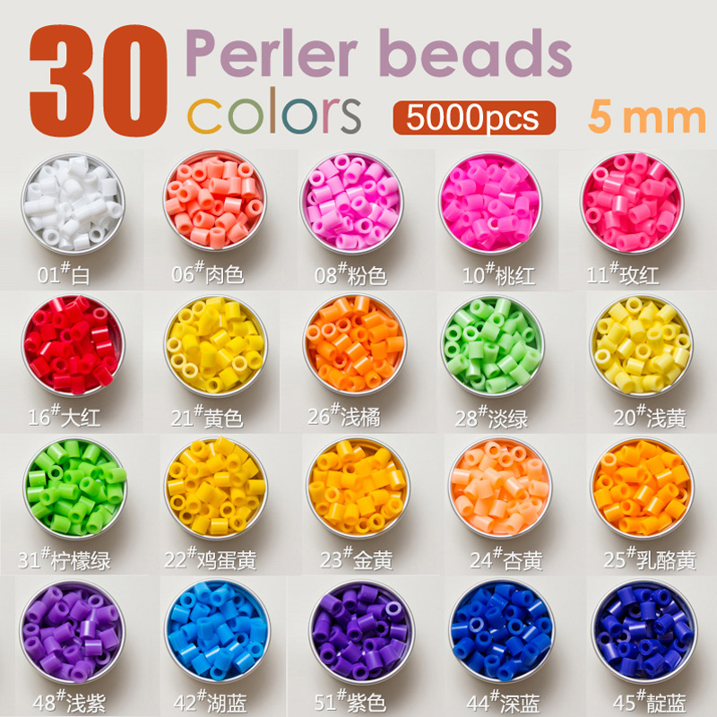 5mm hama/Perler/fuse/iron beads 30 colors gift set for kids crafts gift diy Educational toys or diy jewelry Home Decoration