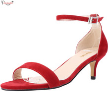 New Red Comfortable Women Sandals Shoes Ladies Fashion Open Toe Med Thin High Heels One Strap  Leather Sandal Shoes SMYNLK-B0049