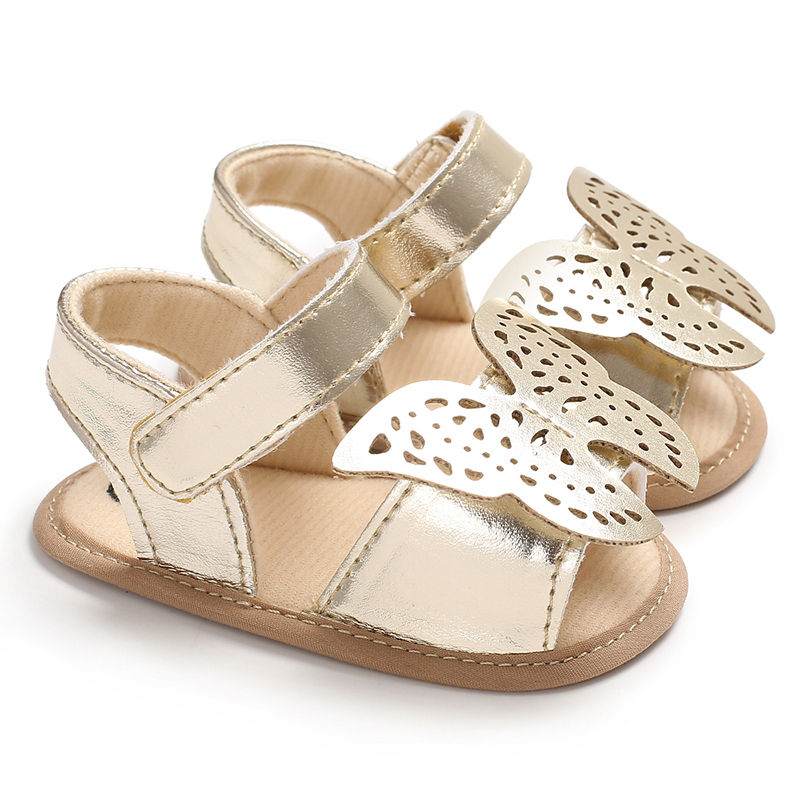 Butterfly baby sandals solid PU leather baby girls boys sandals Nonslip soft soled infant toddler sandals
