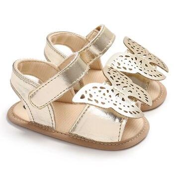 Sandalias de bebé mariposa de cuero sólido de PU sandalias para niños y niñas sandalias de suela suave antideslizantes para niños pequeños