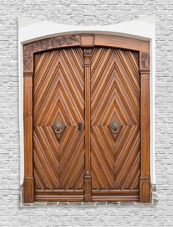 ريفي ديكور الباب القديم مع الأسد الذهبي مقابض الزينة الكلاسيكية المهرة Carpentering صورة المسكن الجدار شنقا نسيج