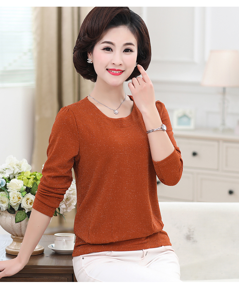 Women Spring Tops Bright Glod Yarn Blouses Red Caramel Green Twinkle Design Shirts Female Casual Long Sleeve O-neck Top For Woman (7)
