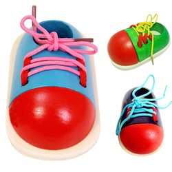 1pc cute kids montessori educational toys children diy wooden toys toddler lacing shoes early education montessori.jpg 250x250