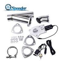 ESPEEDER 2.5 Polegada Remoto do Sistema de Válvula de Escape Downpipe Catback Recorte E Cut-Out Com Instalações de Interruptor Manual Do Carro Escape