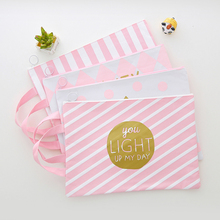 1pc Pink Canvas File Folder Pouch for Documents A4 Large Capacity Document Bag Business File Folder Paper Organizer Storage Bag