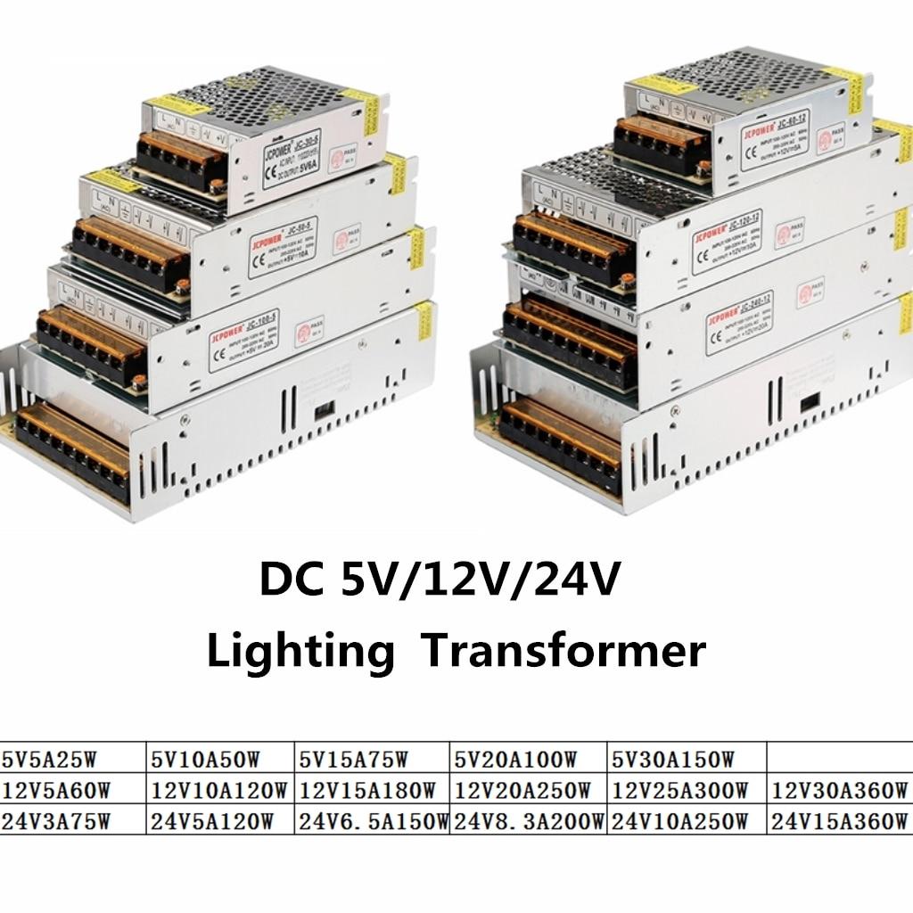 DC 5 V 12 V 24 V 3A 5A 10A 15A 20A 25A 30A transformadores para iluminación de 5 12 24 V voltios LED controlador de adaptador de fuente de alimentación LED tira de cinta de la lámpara