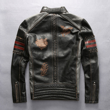 Здесь можно купить  mens Harley genuine cow leather jacket male embroidery motorcycle rider slim cowhide leather jacket motorcycle jacket