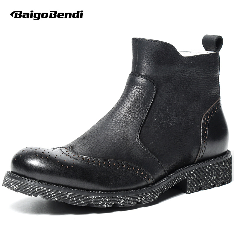 TOP!! Mens Genuine Leather Chelsea Boots Trendy Wing Tips Brogue Shoes Man Zip Riding Boots Winter Shoes brogue boots two tone