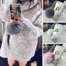 For huawei P8 Furry Pompom Plating Mirror TPU Surface Plush Ball Style Protect font b Cover