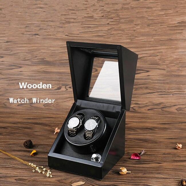 YA 2 Slots Black Watch Winder Automantic New Watch Storage Winder Wood Mens Mechanical Watch Gift Case Watch Shaker W091 стоимость
