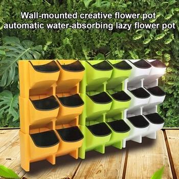 Maceta de flores de riego automático apilable Vertical plantador de pared colgante duradero para el balcón del jardín GQ999