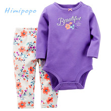 HIMIPOPO Casual Baby Girls Clothing Sets for Spring Autumn Toddler Infant Bodysuits+Girls Legging 2pcs Baby Romper Set for 0-2Y