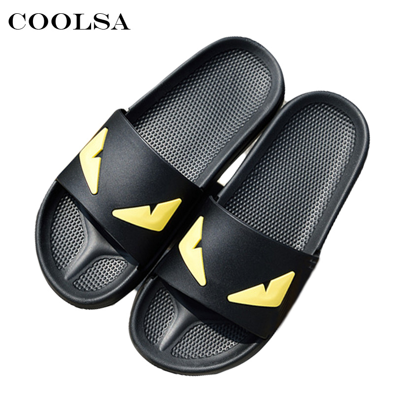 Coolsa New Summer Men Monster Slippers Massage Slippers Man Sandals Flat Non-slip Home Flip Flop Cute Monster Couples Beach Shoe coolsa new summer women bling slippers sparkling flip flop eva flat non slip slides home slipper lady casual beach sandals shoes