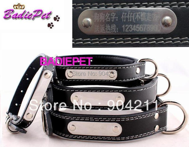 HOT PROMOTION Dog Real Leather collar with metal engraving tags free carve lettering pet collars dog ID tag free shippig+gifts