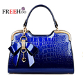 In Europe and America 2017 the new Deluxe patent leather Brand Design fashion crocodile pattern handbag sac a main women bags