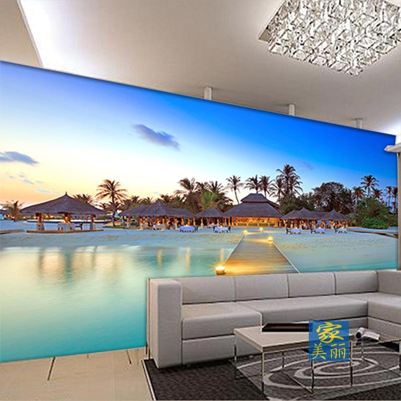 Free Shipping mural wallpaper sofa living room bedroom TV background wall scenic coast of Hawaii Island Beach wallpaper mural