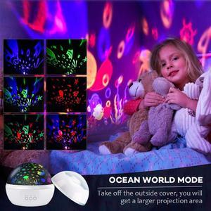 Image 2 - אוקיינוס מנורת שמי זרועי הכוכבים מסתובב מקרן לילה אור ילדי ילד תינוק שינה LED לייזר מקרן עבור שינה USB מנורת מקרן