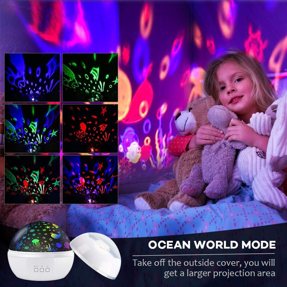 Image 2 - BOAZ Ocean Starry Sky Rotating Projector Night Light 8 Colors Mode LED Laser Night Lights Gift for Kids Children living/Bedroom-in LED Night Lights from Lights & Lighting