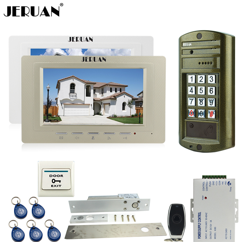 JERUAN NEW Metal waterproof password keypad HD Mini Camera + Wired 7 inch Video Door Phone Doorbell Intercom System kit 1V2 jeruan wired 7 inch video doorbell intercom door phone system kit new metal waterproof access password keypad hd mini camera 1v3