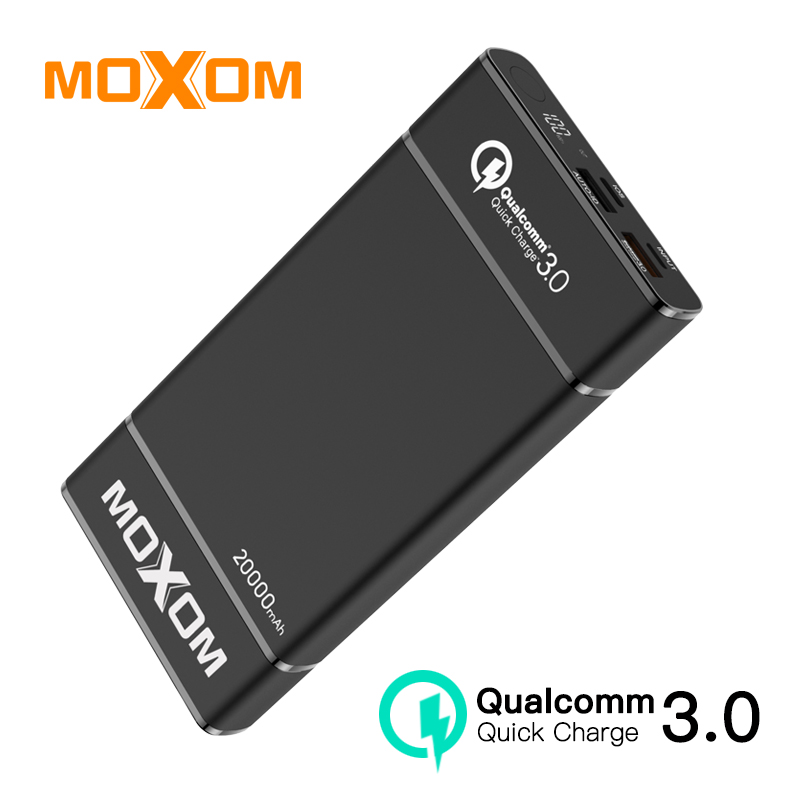MOXOM 20000mAh Power Bank External Battery For iPhone Samsung Huawei Type C PD Fast Charging + Quick Charge 3.0 USB Powerbank