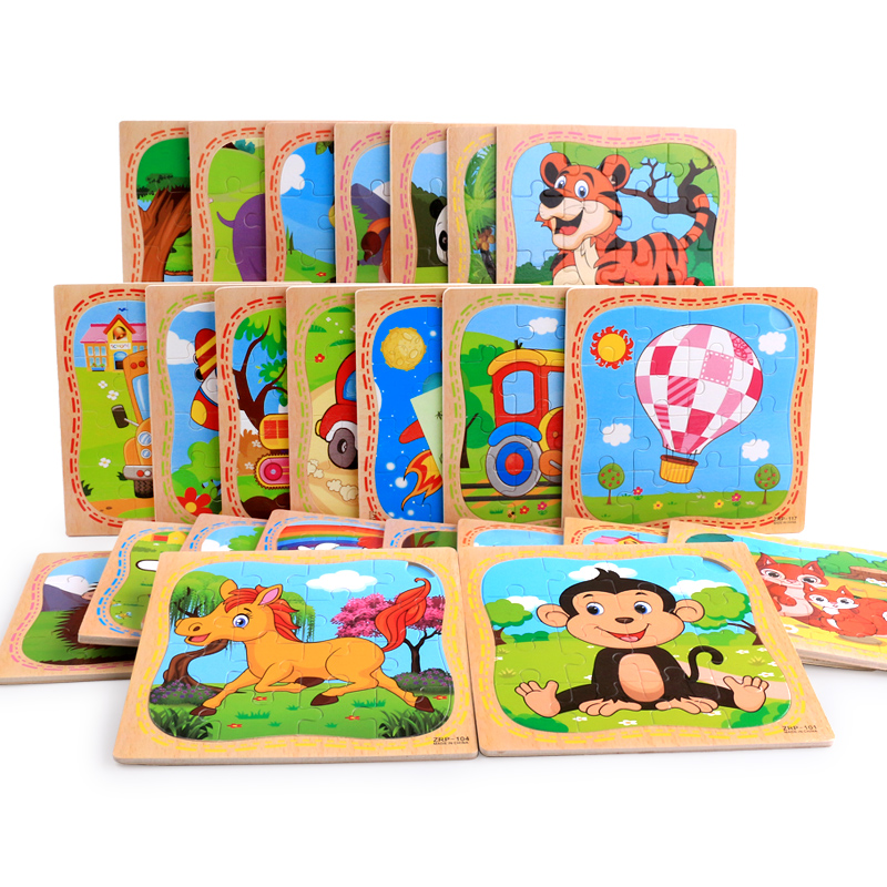 3D Colorful Animals Train Car Wooden Puzzle DIY Educational Toys Developmental Baby Toys for Children Early Training Game