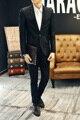 Mens traje de chaqueta con pantalones 2016 nueva negro traje de novio desgaste del partido de la boda Slim fit ropa de escena clásica de negocios formal envío de la gota