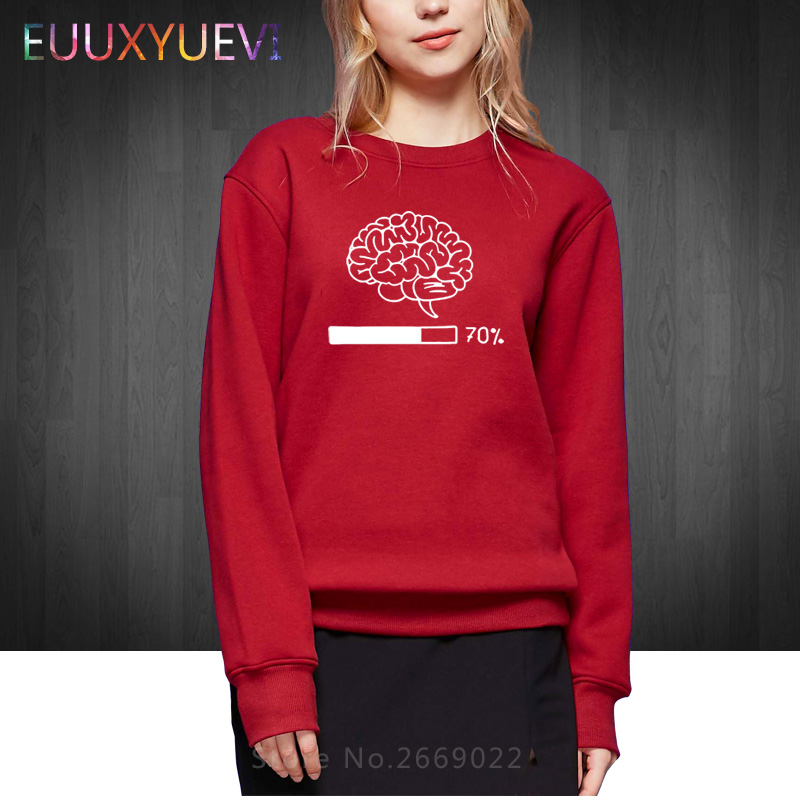 Winter Autumn Brain Loading Funny Printed Women Hoodies Gamer Computer Geek Cotton Tops Cool Woman Girl Sweatshirts Pullover