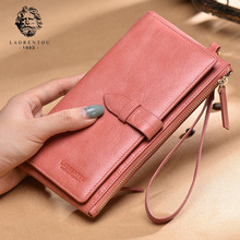 LAORENTOU Women 100% Cow Leather Retro Long Wallets Female Simple Solid Long Purse Lady Zipper Phone Bag Card Holder Clutch