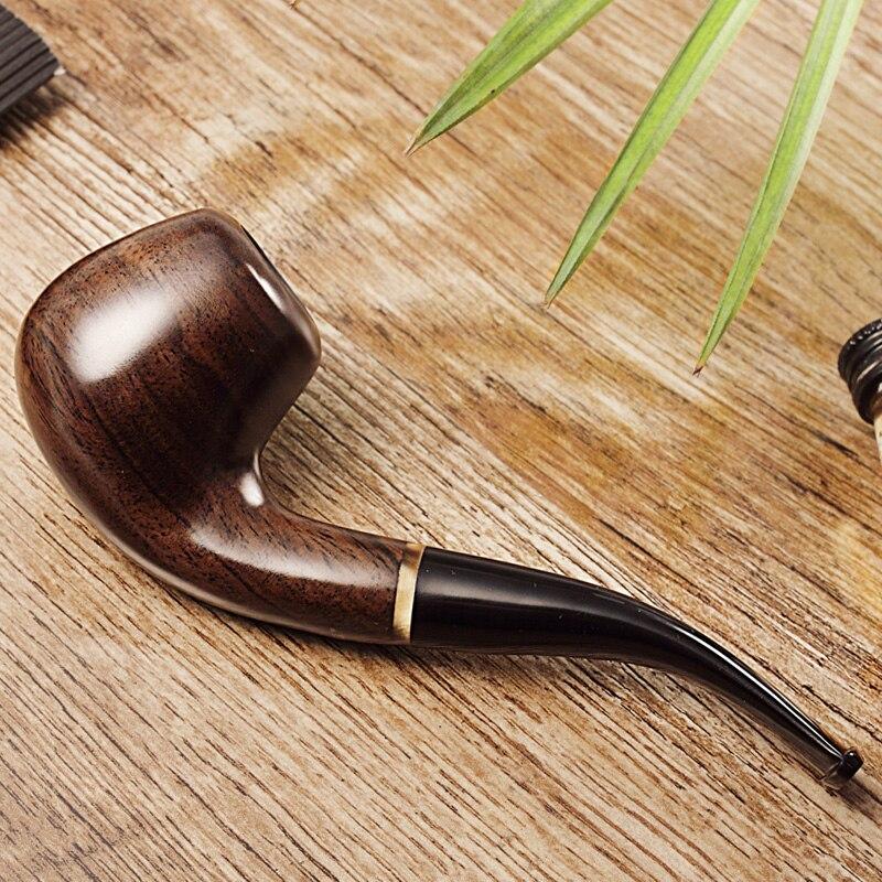 2019 J & moer Նոր Ebony խողովակ կոր ծխախոտային խողովակ Ծխելու խողովակները ֆիլտրում են JH661 ebony
