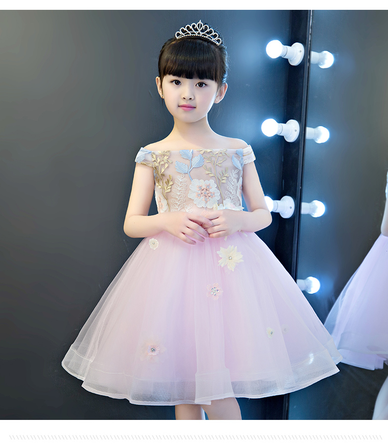 Children girl wedding dress pink flower girl clothes princess dresses dance performance costumes ball gown tutu clothing kids christmas dress professional ballet tutu fashion dance dress performance wear costumes th1034c hair accessory clothes children