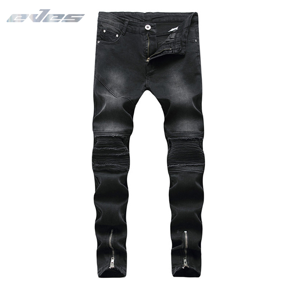 EVES Mens Wave Ripped Design Moto Biker Jeans Fashion Slim Skinny Casual Pencil Motorcycle Jeans Men Destroyed Denim Trousers