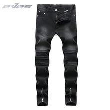 купить EVES Mens Wave Ripped Design Moto Biker Jeans Fashion Slim Skinny Casual Pencil Motorcycle Jeans Men Destroyed Denim Trousers по цене 1415.3 рублей