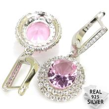 Real 6.9g 925 Solid Sterling Silver Gorgeous Pink Kunzite White CZ Womans Present Earrings 38x15mm