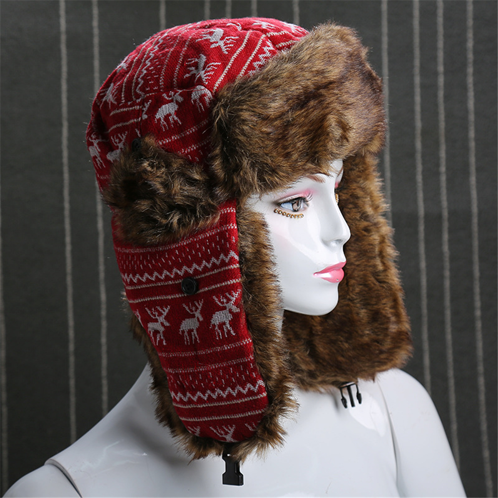 890e9f1868805 JUN JUN.W Outdoor Women Windproof Winter Thermal Skiing Hats Lei Feng Hiking  Russian Caps For Women Men 2 Colors-in Hiking Caps from Sports    Entertainment ...