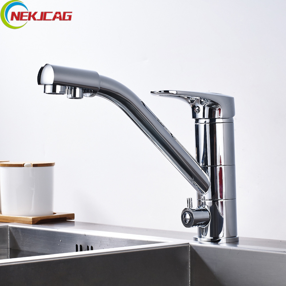 цена на Drinking Water Faucet Kitchen Sink Pure Water Faucet Dual Handle with Pure Water Pipe Filter Kitchen Faucet