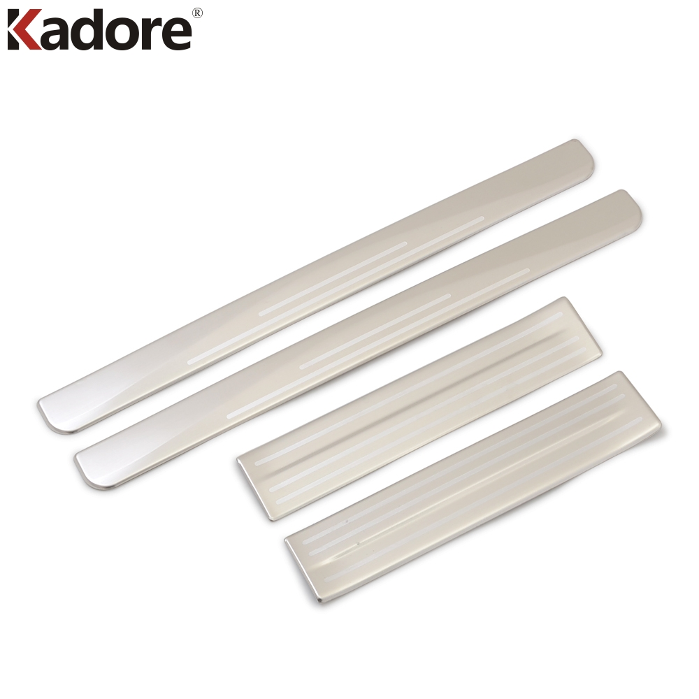 Exterior Accessories For Nissan Leaf 2017 2018 2019 Stainless Steel Door Scuff Sill Plate Step Cover Trim Sticker Styling 4pcs for hyundai santa fe ix45 2013 stainless steel 4pcs door sill step scuff plates