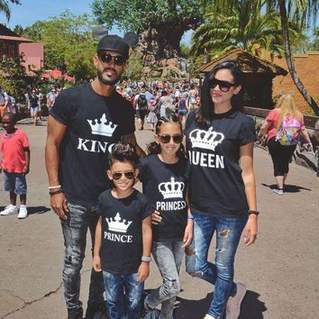 Family Look mommy and me clothes matching outfits dad mother daughter mom mum kid baby T shirt crown King Queen t shirt clothing in Matching Family Outfits from Mother Kids