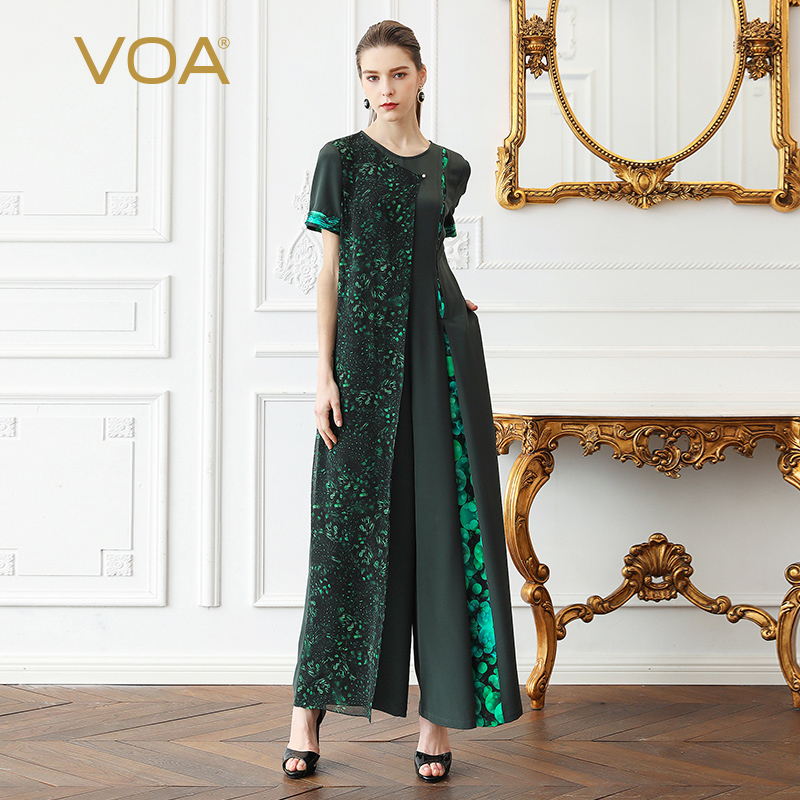 VOA Heavy Silk Jumpsuit Women Plus Size Wide Leg Long Jumpsuits Boho Georgette Print Green Slim Pearl Clasp Casual Summer K375