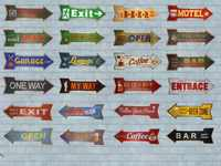 Retro Arrow poster Metal Tin Signs Exit Open Signboard Hanging Welcome Sign Garage Restaurant Bar Beer Cafe Wall Stickers Decor