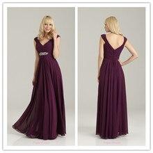Women's New Stand V Neck Floor Length dress Chiffon Long Maxi Plus Size Bridesmaid Dresses purple free shipping