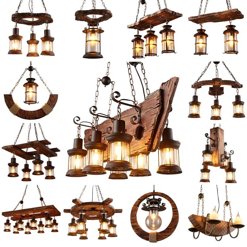 Ретро промышленные люстры из цельного дерева Американский Сельский Лофт бар деревянные лампы для винтажного домашнего декора блестящая лю
