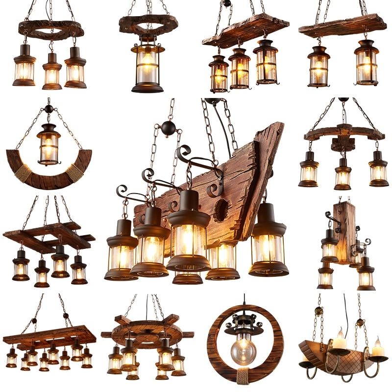 Rétro industriel lustres en bois massif américain LOFT Rural Bar lampes en bois pour vintage décor à la maison lustre éclairage