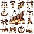 Retro Industriële Massief Houten Kroonluchters Amerikaanse Landelijke LOFT Bar Houten Lampen Voor vintage interieur luster Kroonluchter Verlichting