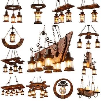 Retro Industrial Solid Wood Chandeliers American Rural LOFT Bar Wooden Lamps For vintage home decor luster Chandelier Lighting